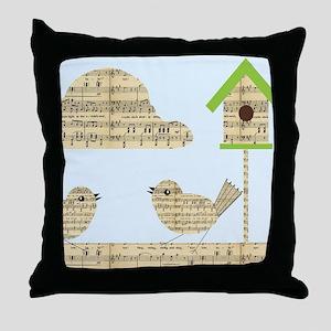 twee birds music notes Throw Pillow