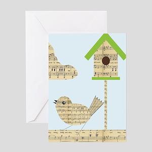 twee birds music notes Greeting Cards