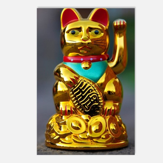 asian waving cat maneki n Postcards (Package of 8)
