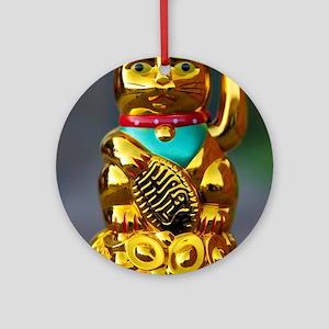 asian waving cat maneki neko Round Ornament