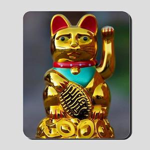 asian waving cat maneki neko Mousepad