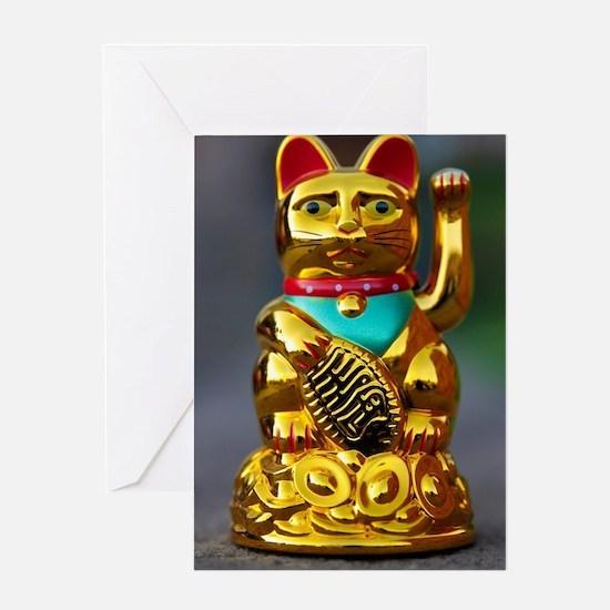 Funny chinese birthday greeting cards cafepress asian waving cat maneki neko greeting card m4hsunfo