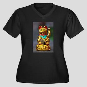 asian waving cat maneki neko Plus Size T-Shirt