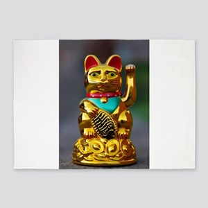 asian waving cat maneki neko 5'x7'Area Rug