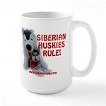 Siberian Huskies Rule - Large Mug