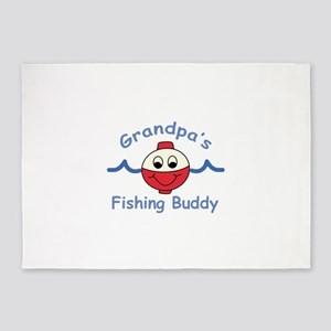 GRANDPAS FISHING BUDDY 5'x7'Area Rug