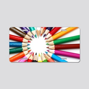 rainbow art pencils pastels Aluminum License Plate