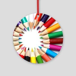 rainbow art pencils pastels Ornament (Round)