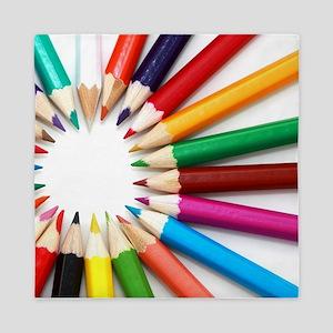 rainbow art pencils pastels Queen Duvet
