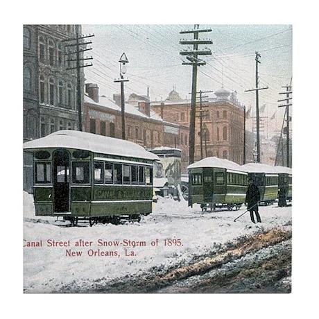 Canal Street Snow 1895 Tile Coaster