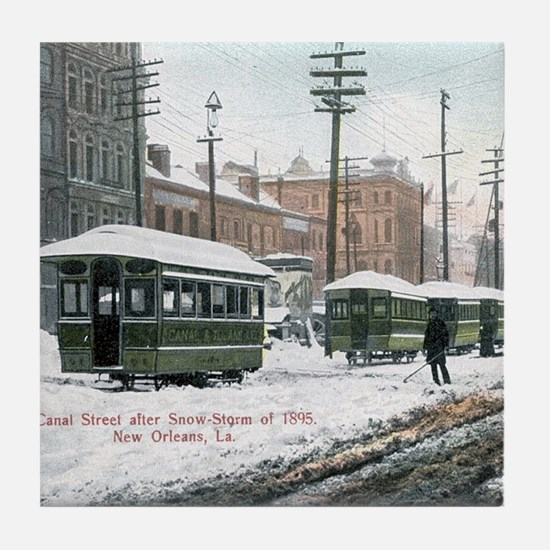 Canal Street Snow 1895 Tile Coaster