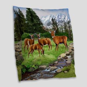 Mountain Red Deer Safari Burlap Throw Pillow