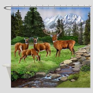 Mountain Red Deer Safari Shower Curtain