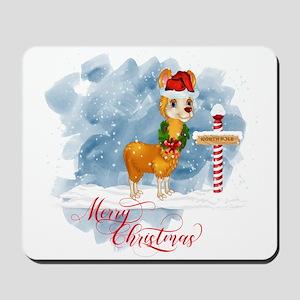 Merry Christmas Llama North Pole Mousepad