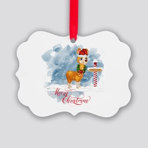 Merry Christmas Llama North Pole Picture Ornament