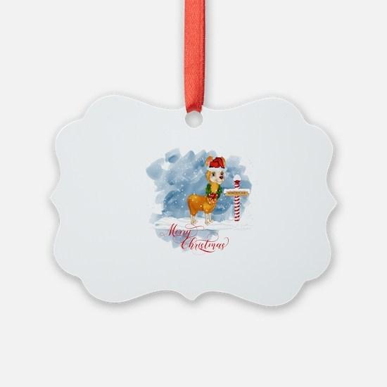 Merry Christmas Llama North Pole Ornament