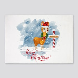 Merry Christmas Llama North Pole 5'x7'Area Rug