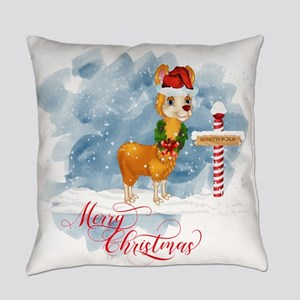 Merry Christmas Llama North Pole Everyday Pillow