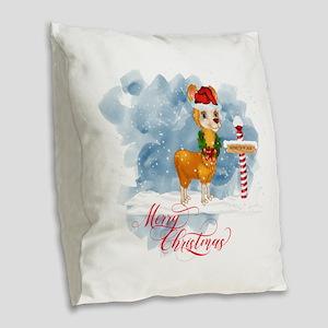 Merry Christmas Llama North Po Burlap Throw Pillow