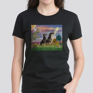 Cloud Angel & Dobie Pair Women's Dark T-Shirt