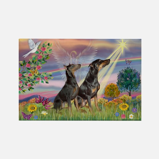 Cloud Angel & Dobie Pair Rectangle Magnet