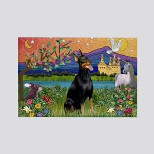Doberman Fantasyland Rectangle Magnet