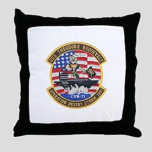 USS Roosevelt Desert Storm Throw Pillow