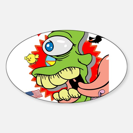 Crazy Green Alien Monster Decal