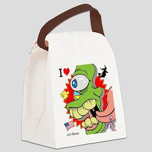 Crazy Green Alien Monster Canvas Lunch Bag