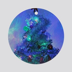 Christmas holiday trees Round Ornament