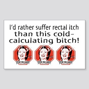 Hillary Rectal Itch Rectangle Sticker