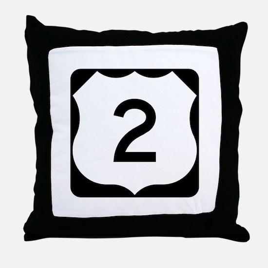 US Route 2 Throw Pillow