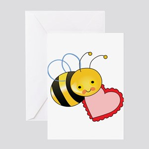 BEE WITH HEART Greeting Cards