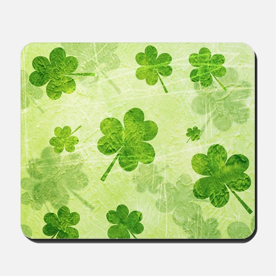 Green Shamrock Pattern Mousepad