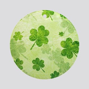 Green Shamrock Pattern Ornament (Round)