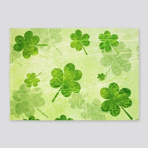 Green Shamrock Pattern 5'x7'Area Rug