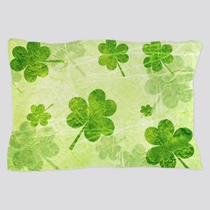 Green Shamrock Pattern Pillow Case
