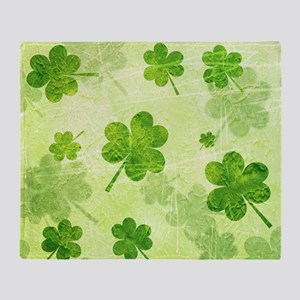 Green Shamrock Pattern Throw Blanket