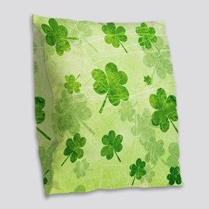 Green Shamrock Pattern Burlap Throw Pillow