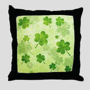 Green Shamrock Pattern Throw Pillow