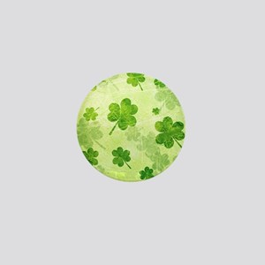 Green Shamrock Pattern Mini Button