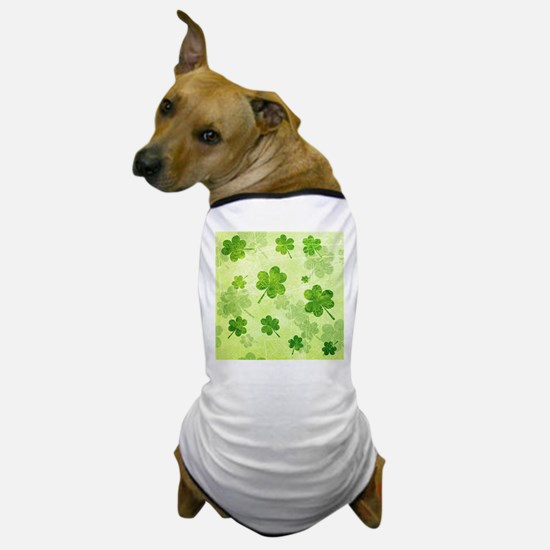 Green Shamrock Pattern Dog T-Shirt