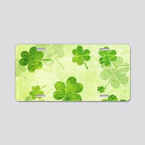 Green Shamrock Pattern Aluminum License Plate