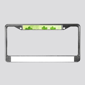 Green Shamrock Pattern License Plate Frame