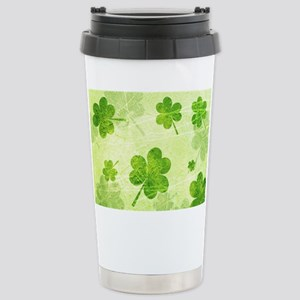 Green Shamrock Pattern Stainless Steel Travel Mug