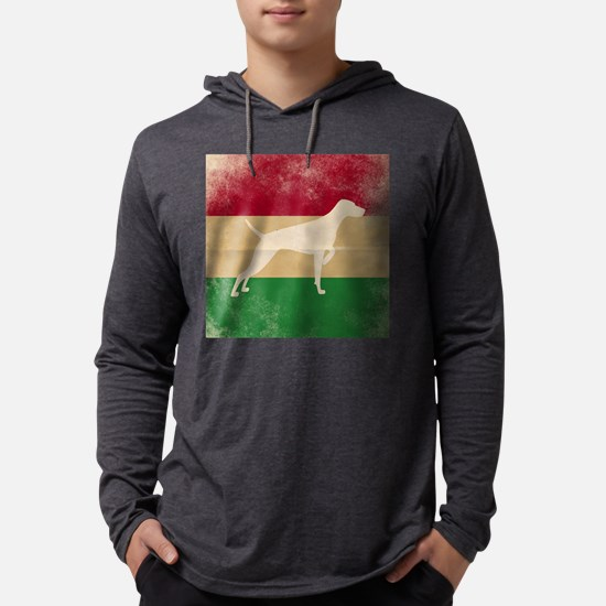 Long Sleeve T-Shirt - Vizsla On Hungarian Flag Lon