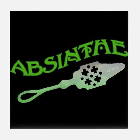 Absinthe Spoon Black Tile Coaster