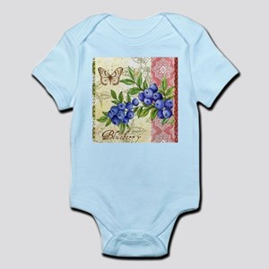 FRENCH MODERN BUTTERFLY AND BLUEBERRY Body Suit