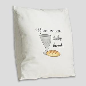 WINE DAILY BREAD Burlap Throw Pillow
