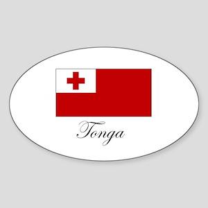 Tonga - Flag Oval Sticker